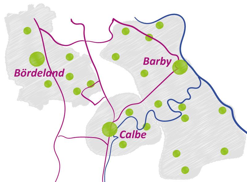 stilisierte Karte der Region